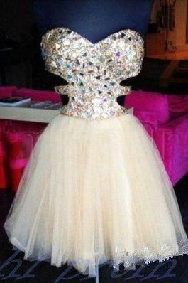 Sparkly Crystal Beaded Homecoming Dress,Homecoming Gowns,Short Party Gowns Evening Gowns