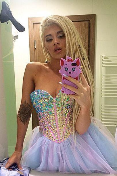 Colours Homecoming Dress,Tulle Homecoming Dresses,Crystal Beaded Homecoming Dress,Homecoming Dresses