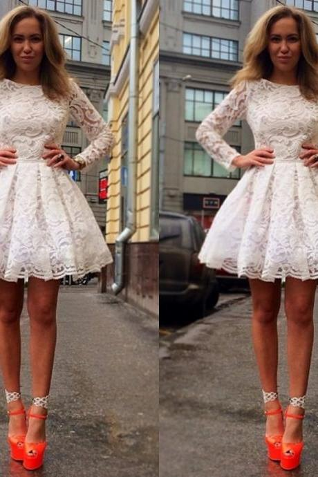 A-Line Long Sleeve Lace Homecoming Dresses, White Short Cocktail Dresses,Applique Homecoming Dress