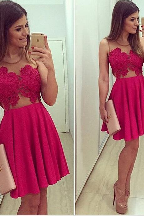 Simple Mini Homecoming Dress, A-Line Homecoming Dresses,Sexy Appliques Sleeveless Cocktail Dresses,Homecoming Dress