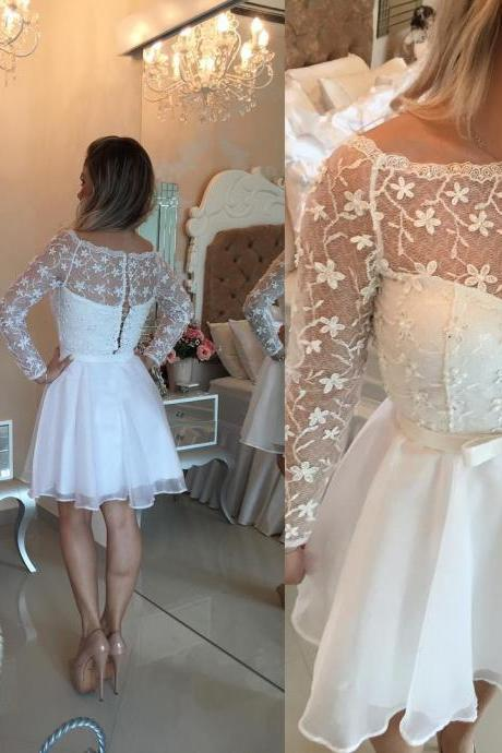Beautiful White Lace Homecoming Dresses,Long Sleeve Homecoming Dress,Cocktail Party Dress