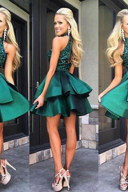 Gorgeous Green Homecoming Dress, Sleeveless Homecoming Dress,Beadings Mini Homecoming Dresses