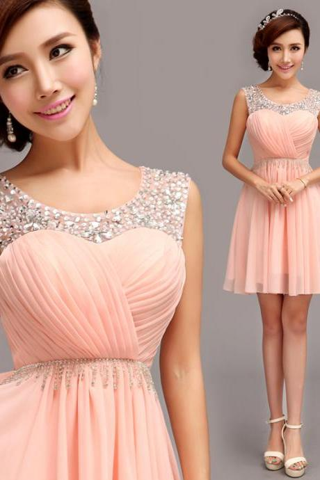 Glamorous Homecoming Dress,Sleeveless Short Homecoming Dress,Homecoming Dress With Beadings
