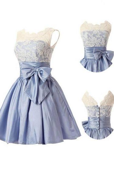 Fashion A-line Homecoming Dress,Scoop Taffeta Blue Homecoming Dresses,Bridesmaid Dress With Bowknot