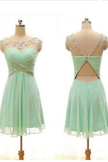 Hot-selling A-line Homecoming Dress,Beaded Scoop Mint Chiffon Homecoming Dresses,Party Dresses