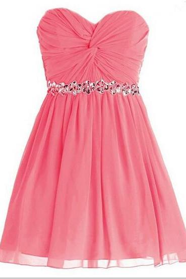 A-line Sweetheart Homecoming Dress, Ruched Chiffon Homecoming Dress ,strapless Homecoming Dresses