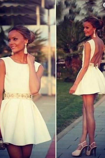 Gorgeous Scoop Sleeveless Homecoming Dress,Backless Mini Satin Homecoming Dress,Homecoming Dresses