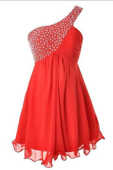 Prom Dresses, One-shoulder Beading Homecoming Dress,Red Party Homecoming Dresses
