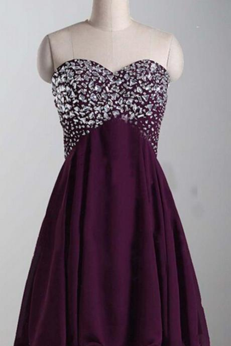 Sexy Purple Homecoming Dress,Rhinestones Beading A Line Homecoming Dress,Strapless Homecoming Dress