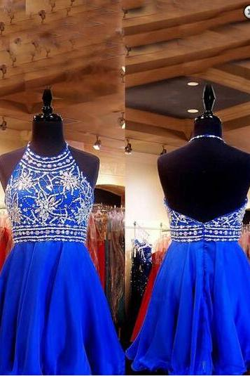 Royal Blue Beaded Homecoming Dress,Halter Short Chiffon Homecoming Dress,Backless Homecoming Dress