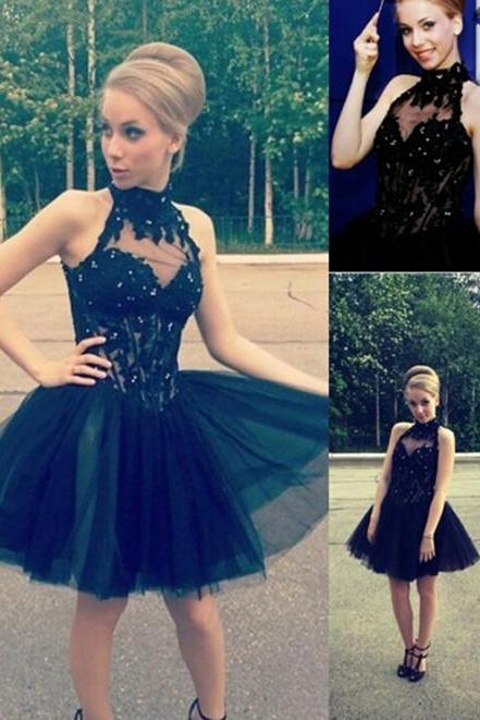Elegant A-line Homecoming Dress,Little Black Homecoming Dresses,High Neck Dress