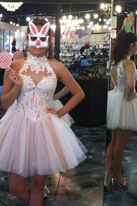 Modern A-line Homecoming Dress,High-neck Halter Appliques Dress,White Sweet Homecoming Dresses