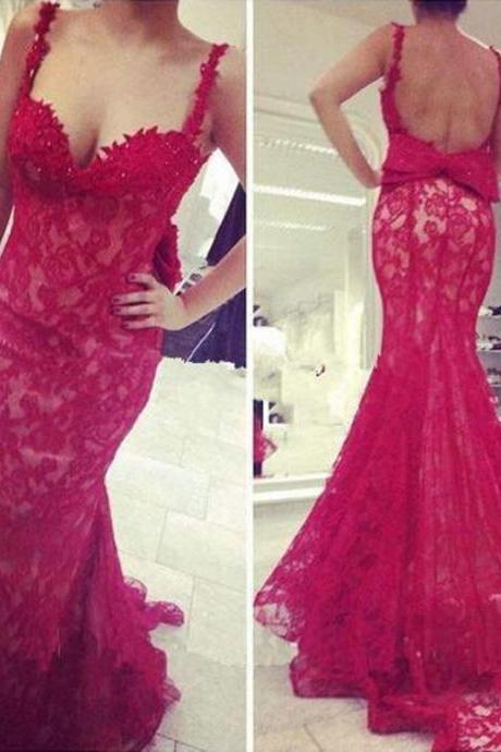 Open Back Lace Bowknot Prom Dress,Red Prom Dresses