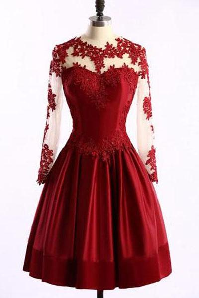 Long Sleeve Satin Prom Dress,Short Red Prom Dresses