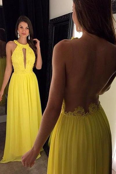 See Through Back Prom Dress,Yellow Prom Dresses
