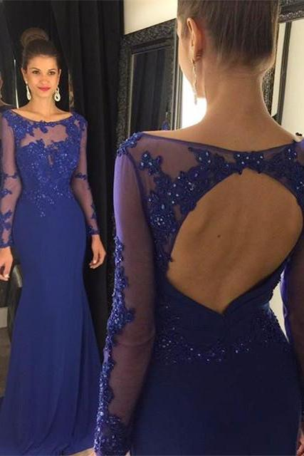 Sheath Long Sleeve Prom Dress,Royal Blue Prom Dresses