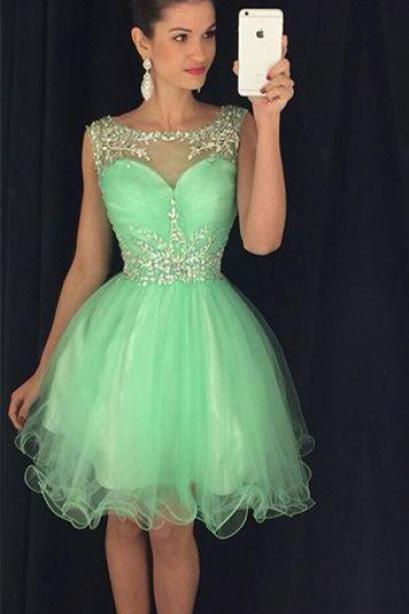 Lovely Straps Chiffon Prom Dresses,Green Homecoming Dresses