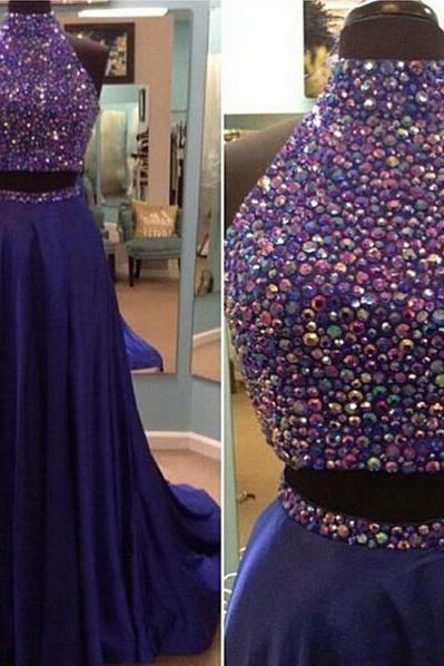 Two Pieces High Neck Prom Dress,Royal Blue Prom Dresses