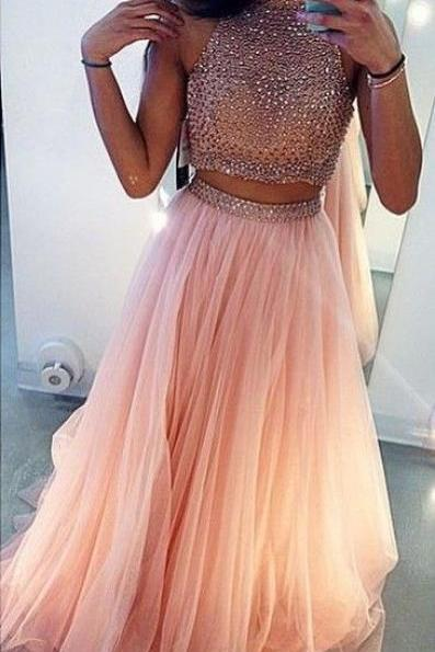 Two Pieces High Neck Prom Dress,Pink Prom Dresses