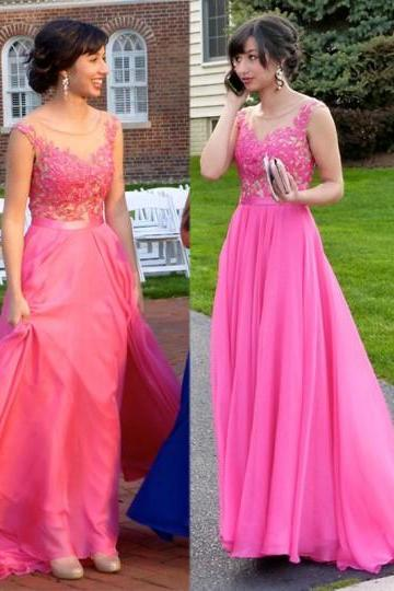 A-Line Sleeveless Prom Dress,Hot Pink Prom Dresses