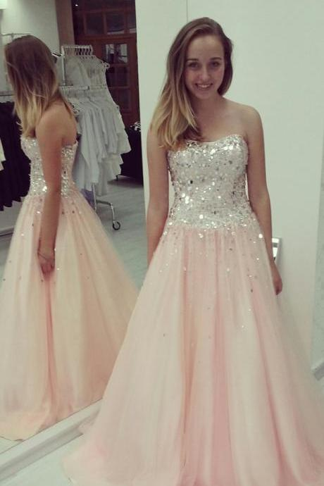 Custom Made Pink Sweetheart Neckline Sequin Tulle Floor Length Prom Dress, Bridesmaid Dress