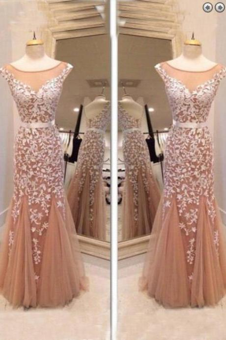 White Applique Mermaid Prom Dress,Champagne Prom Dresses