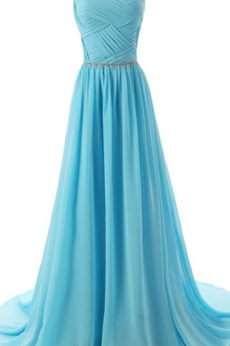 See Through O-Neck Prom Dress,Blue Prom Dresses