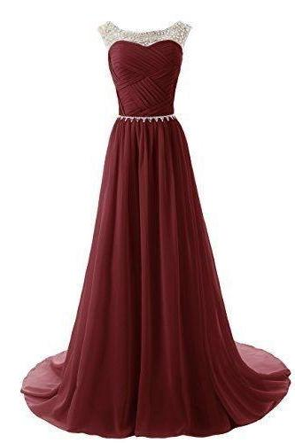 See Through O-Neck Prom Dress,Burgundy Prom Dresses