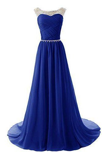 See Through O-Neck Prom Dress,Royal Blue Prom Dresses