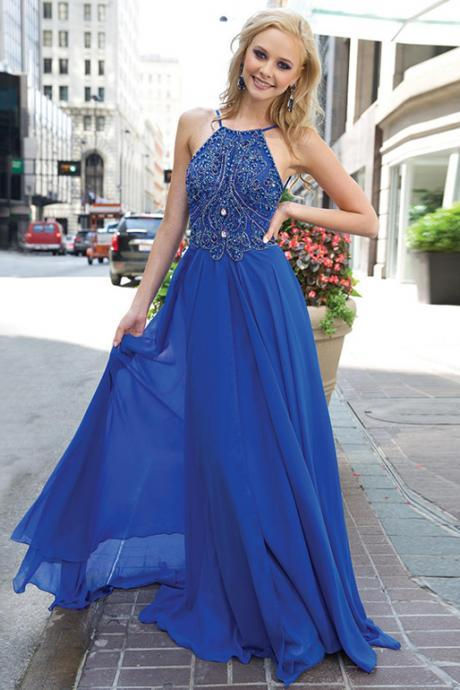 Halter Sexy Backless Prom Dress, Royal Blue Prom Dresses