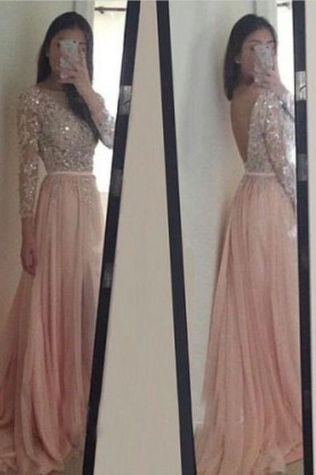 V-Back Long Sleeve Prom Dress,Pink Prom Dresses