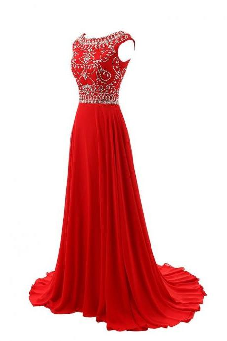 Sleeveless O Neck Prom Dress,Red Prom Dresses