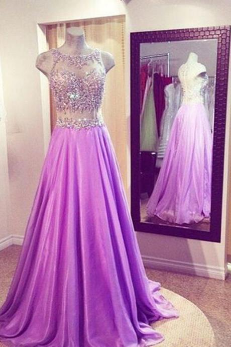See Through Prom Dress,Long Purple Prom Dresses