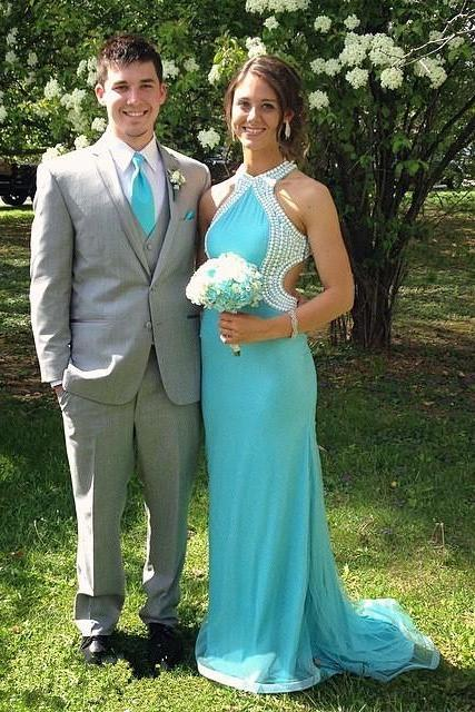 Floor Length Pearls Prom Dress,Blue Prom Dresses