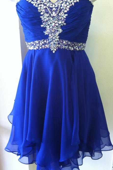 Cute Royal Blue Homecoming Dress,Short Prom Dress