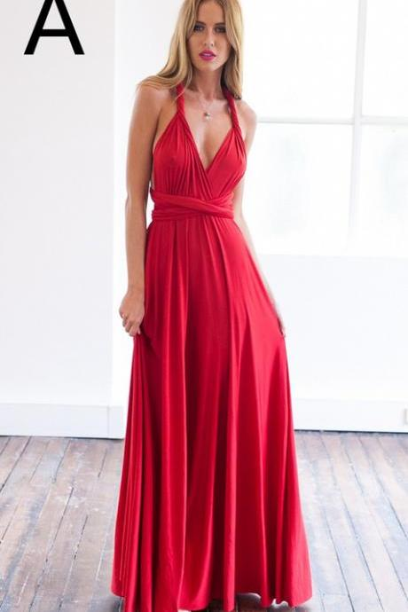 Bakless Red Chiffon Sexy Prom Dress,Long Prom Dresses