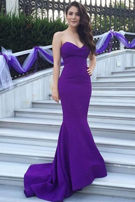 Purple Sweetheart Prom Dress,Long Satin Prom Dresses