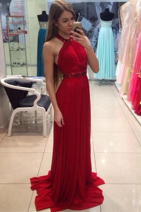 Halter Red A-Line Prom Dress