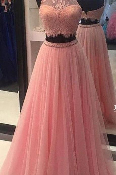 High Neck Lace Tulle Prom Dress