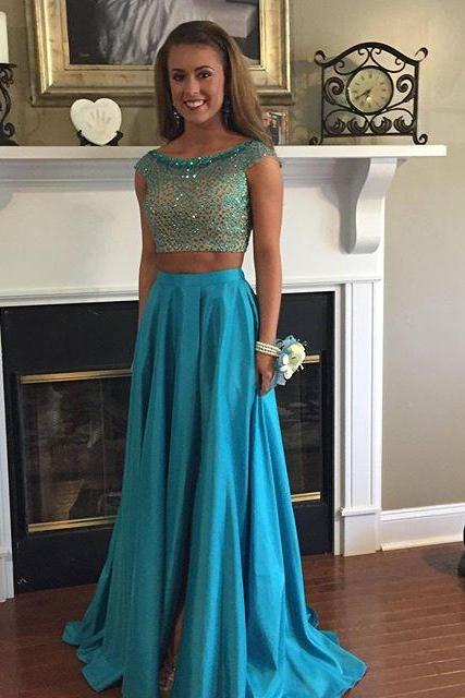 Two Piece Blue Prom Dress,Cap Sleeve Long Prom Dresses