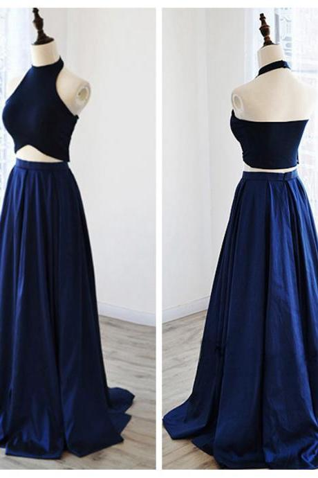 Black Halter Prom Dress,Blue A-Line Prom Dresses,Evening Dress