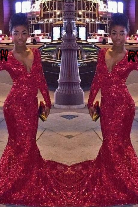 Red Sequin Prom Dress,Long Sleeve Prom Dresses,Evening Dress