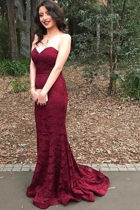 Floor Length Prom Dress,Lace Mermaid Prom Dresses,Evening Dress