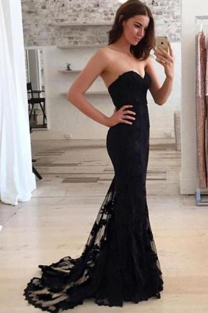Sweetheart Neck Prom Dress,Black Lace Prom Dresses,Evening Dress