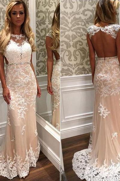 Sleeveless Lace Prom Dress,Backless Long Prom Dresses,Evening Dress