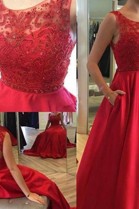 Ruby Red Prom Dress,Open Back Prom Dresses,Evening Dress