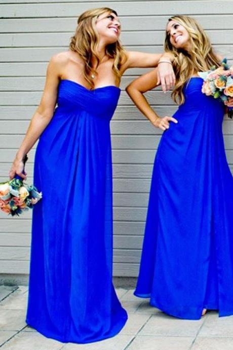 A-Line Sweehteart Ombre Blue Chiffon Prom Dresses,Evening Dress