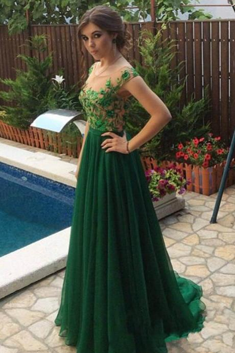 Glamorous Lace Chiffon Appliques Open Back Prom Dresses,Evening Dress