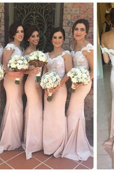 Lace Satin Mermaid Pink Long Prom Dresses,Evening Dress