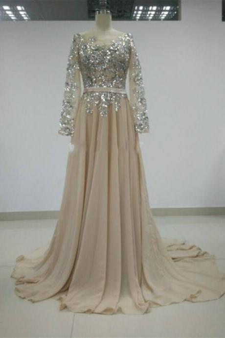 Open Back Long Sleeve A-Line Prom Dresses,Evening Dress
